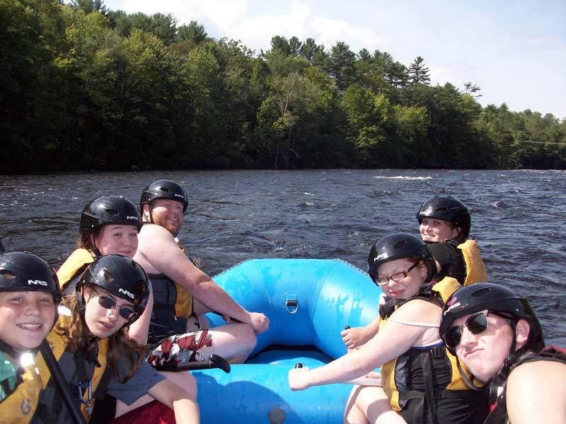 Kids on river raft