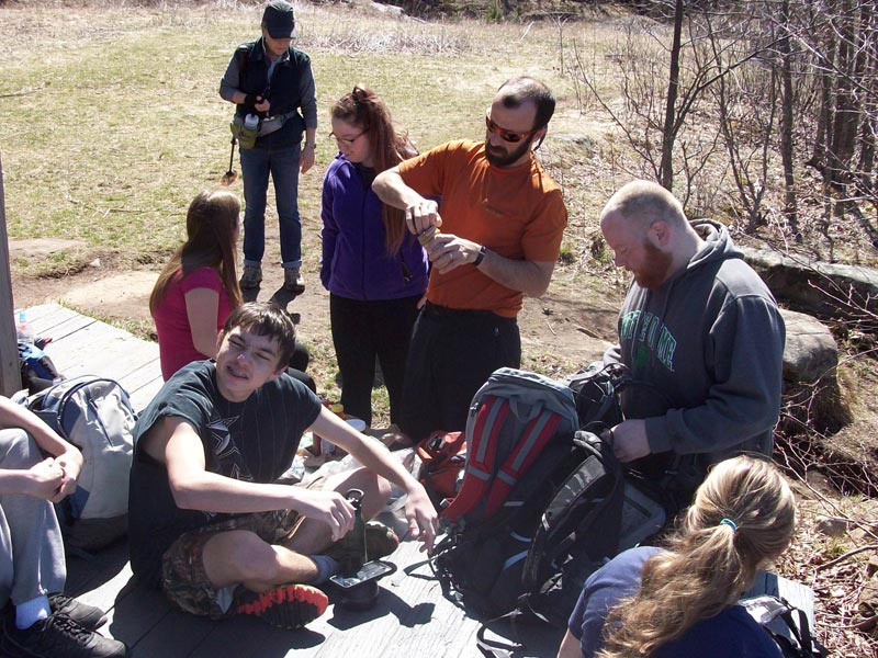 Group of hikers resting